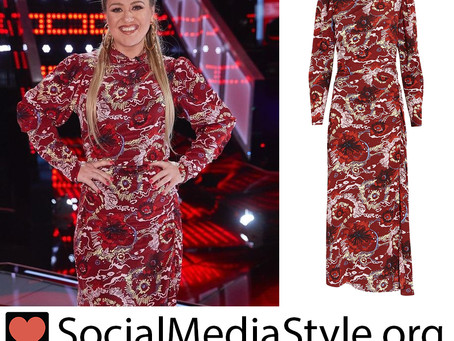 Kelly Clarkson's red floral print dress from The Voice