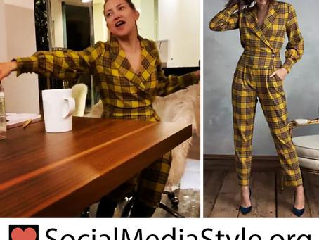 Kate Hudson's yellow plaid jumpsuit