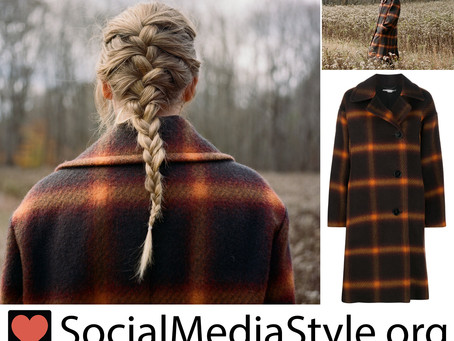 Taylor Swift's plaid coat from her Evermore album announcement