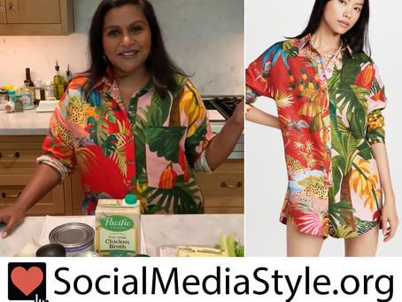 Mindy Kaling's mixed tropical jungle print romper