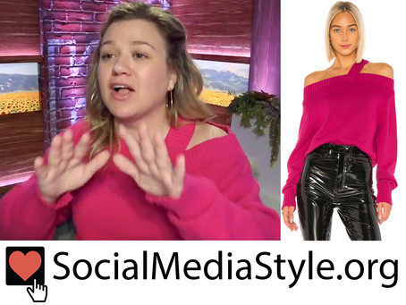 Kelly Clarkson's magenta off-the-shoulder sweater from The Kelly Clarkson Show