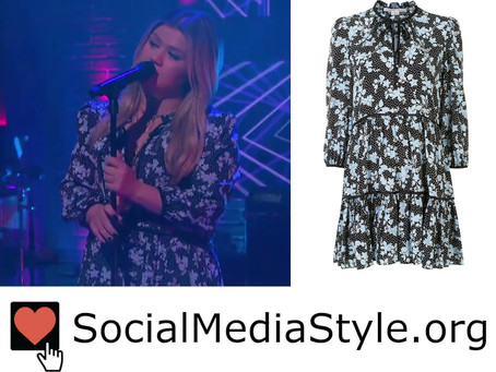 Kelly Clarkson's black floral print and polka dot dress from The Kelly Clarkson Show