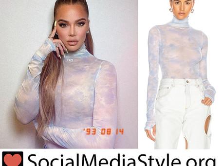 Khloe Kardashian's blue tie dye turtleneck bodysuit