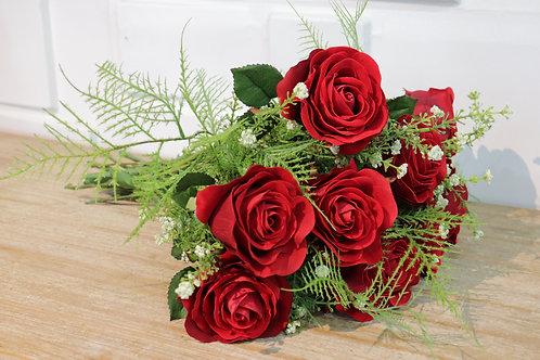 Bouquet To Go - Rosas Rojas Velvet atado