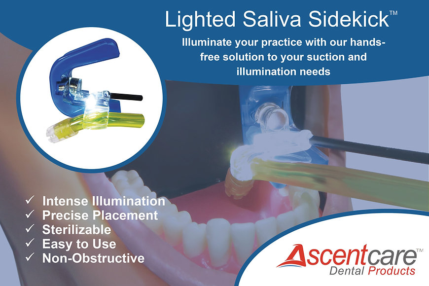 Ascentcare Dental Products Lighted Saliva Sidekick illuminated mouth prop with saliva ejector tube holder