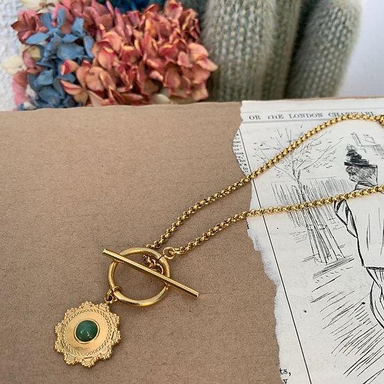 colar aço CAETANA fio de aço cordão medalha de aço pedra esmeralda