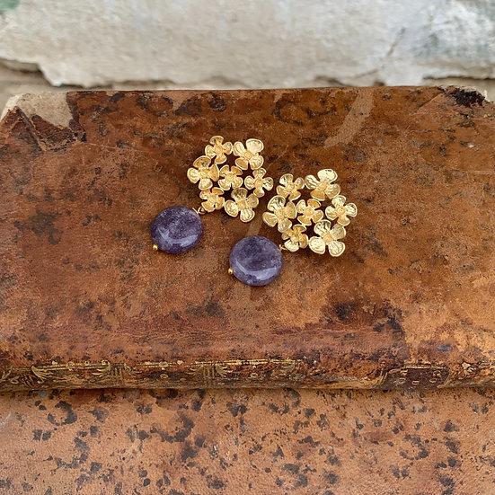 brincos flor grande pedra lilás