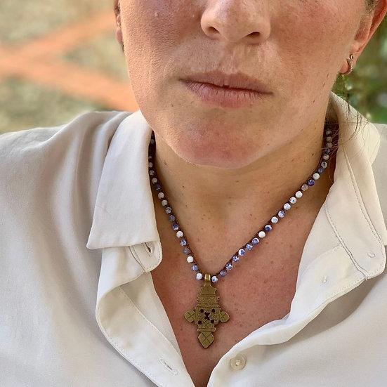 colar  ajustável handmade ágatas azul inglês cruz bronze