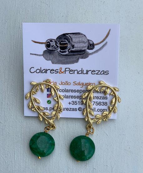 Brincos Coroa de Louros Pedra Verde