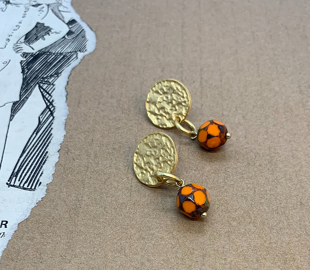 brincos base banho de ouro cristais checos bola laranja