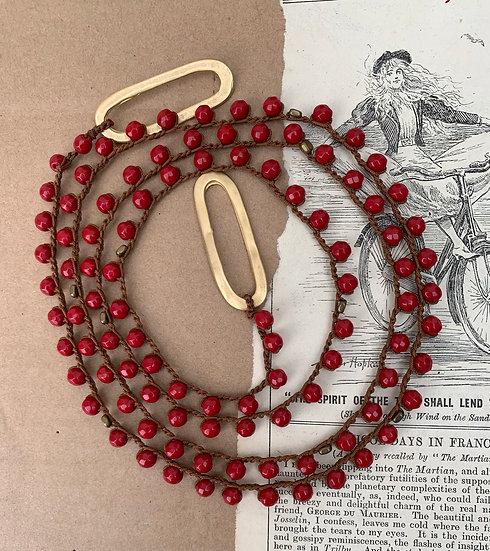 colar comprido -handmade  fio de seda/ágatas vermelhas terminais argolas