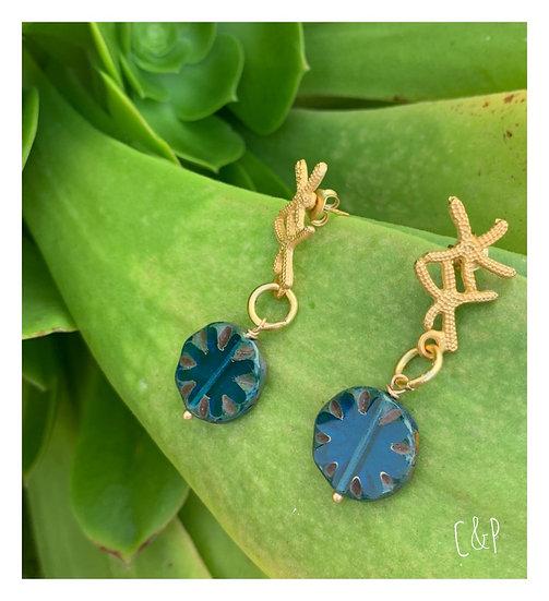 Brincos Estrela do Mar& Peça Azul Inglês Checo