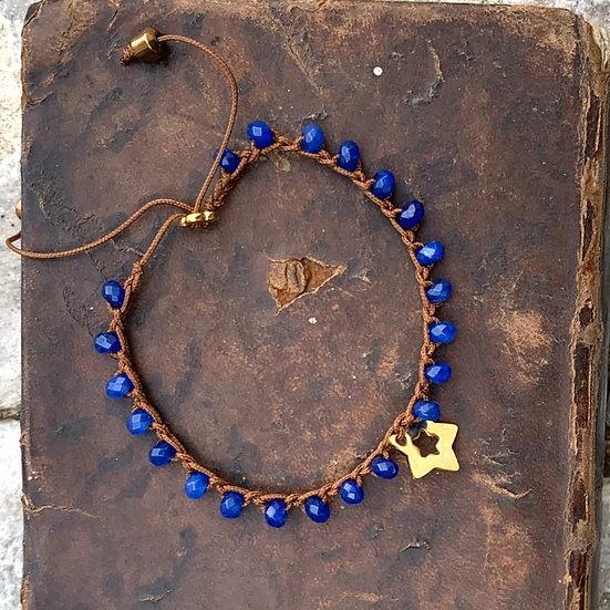 pulseiras ajustáveis handmade azul estrela aço