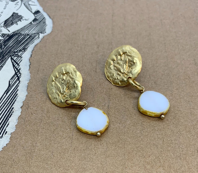brincos base banho ouro cristal checo branco