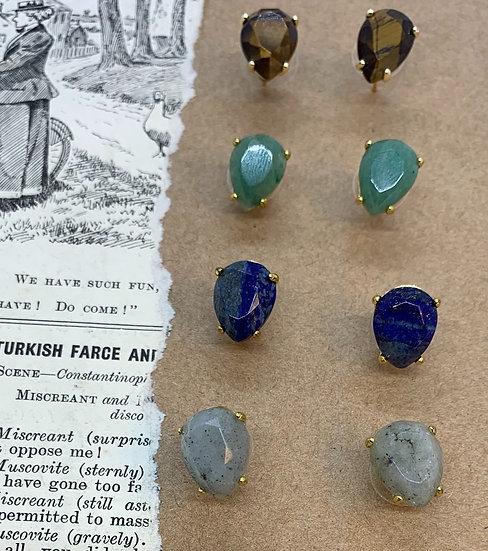 brincos SIMPLES pedras semipreciosas 1;2;3;4