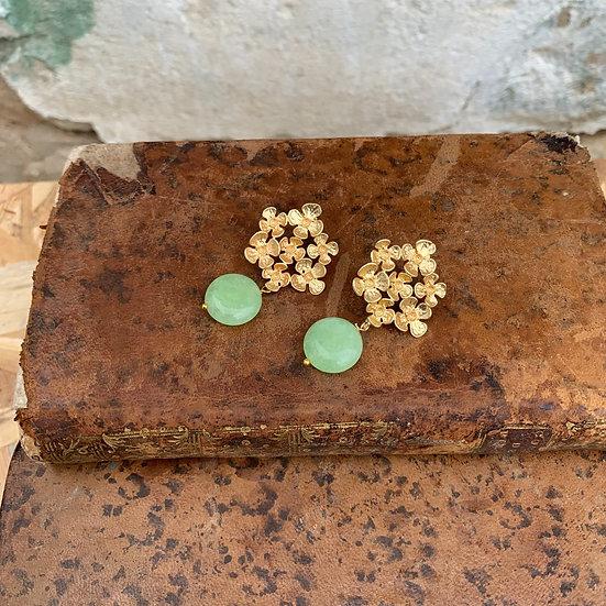 brincos flor grande pedra verde claro