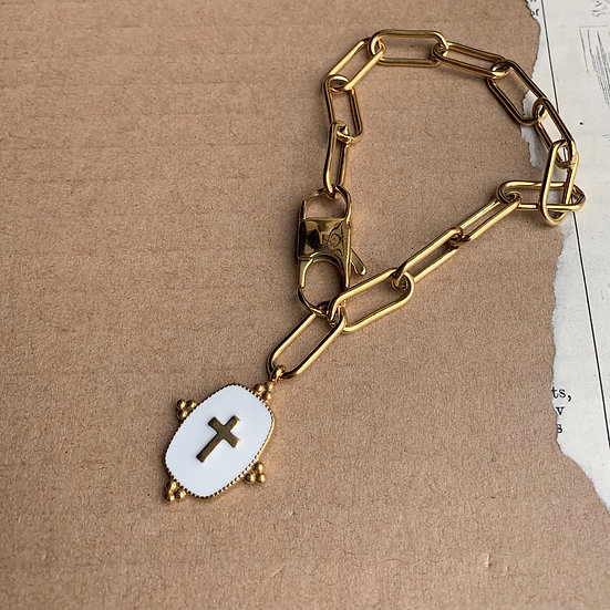 pulseira de corrente de aço medalha esmaltada