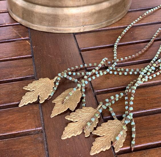 colar comprido handmade, cristais checos folha com de Bronze