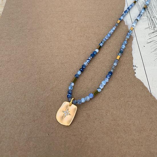Colar RITA/ajustavel, ágatas mescladas azuis