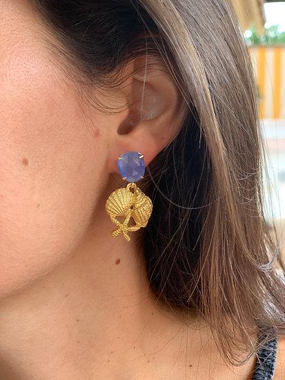 brinco olho de gato azul&conchas do mar douradas
