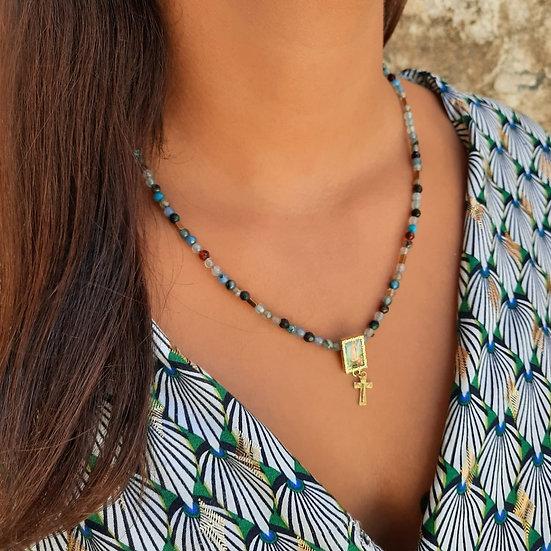 colar ajustável ágatas azuis matizadas medalha Nossa Senhora de Fátima