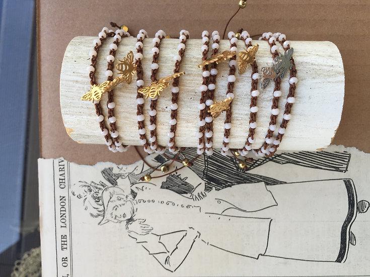 pulseiras ajustáveis handmade abelhas