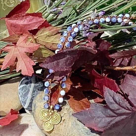 colar MÓNICA/ajustável handmade fio de seda&ágatas azul inglês pendente bronz