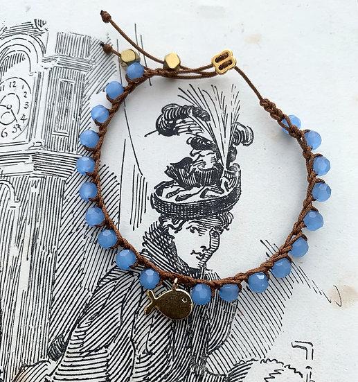 pulseira ajustável handmade BALEIA/AZUL