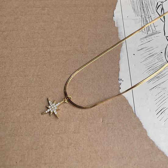 colar aço ESTRELA ZIRCÃO malha batida aço  medalha estrela aço/zircão
