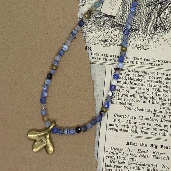 Colar ajustavel Handmade fio de seda ágatas azuis medalha bronze