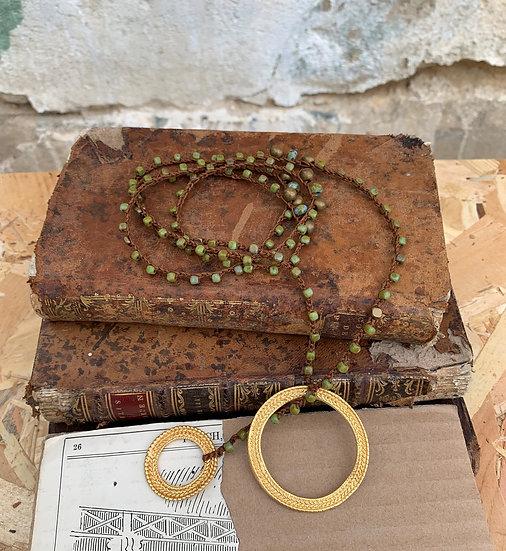 colar comprido handmade,cristais checos verde argolas