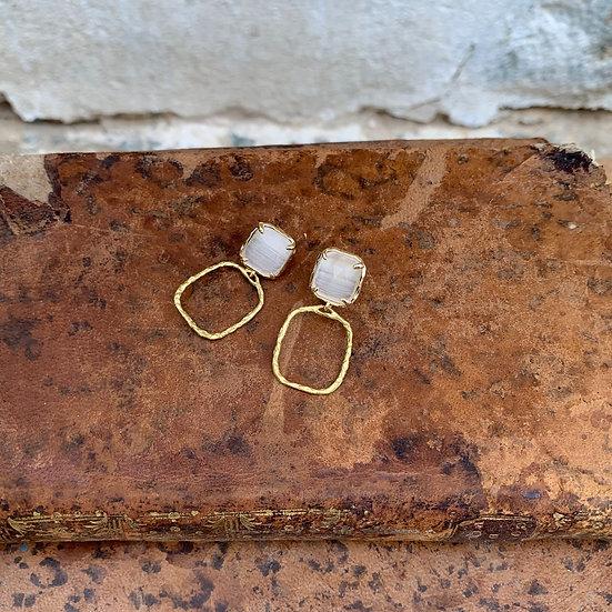 """brincos pedra """"olho de gato"""" aro quadrado bronze"""