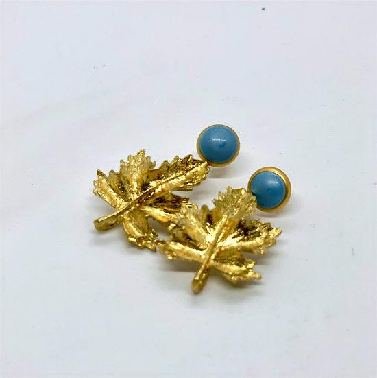 brincos base esmalte azul parra bronze com banho de ouro
