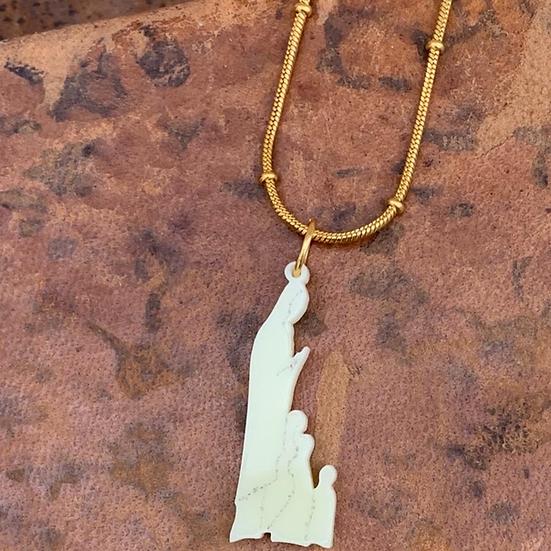 colar aço  N Senhora de Fátima e os Pasto-desenho exclusivo C&P medalha acrílica