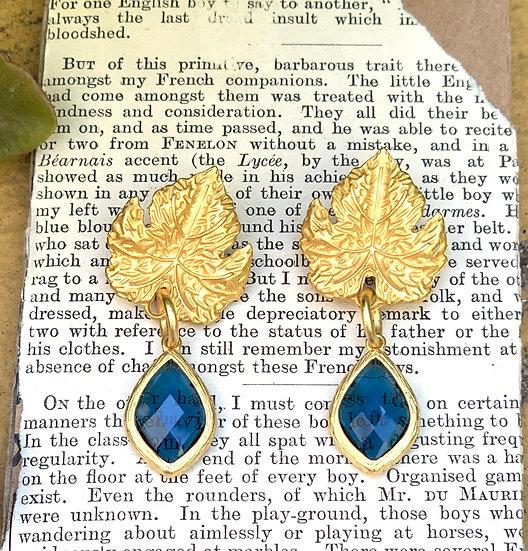 brincos-parra dourada cristal encastrado azul indico