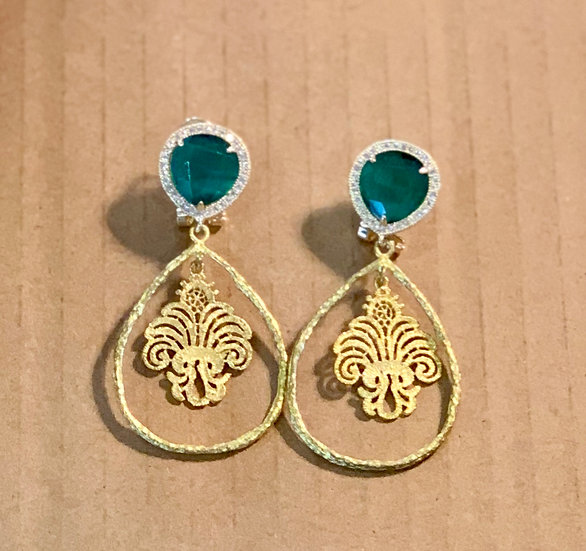 brincos verde esmeralda zircões aro/filigrana