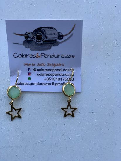 A- Brinco Verde Estrelinha Aço B-Brinco Azul Estrelinha de Aço