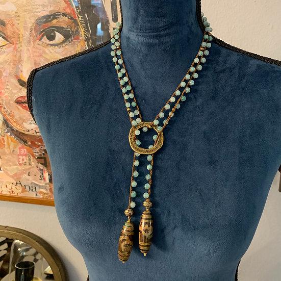 colar comprido handmade  fio de  sede ágatas argola de bronze