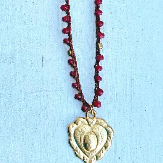 Colar CORAÇÃO/ajustável-handmade-cristais Bordeaux- Coração plaquet Dourado
