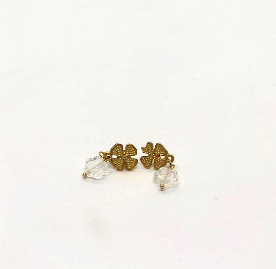 Brinco Trevo 4Folhas flor cristal Checo