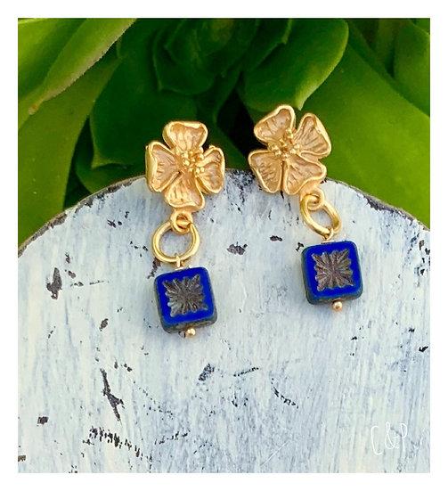 brincos flor& rectângulo azul ingles checo