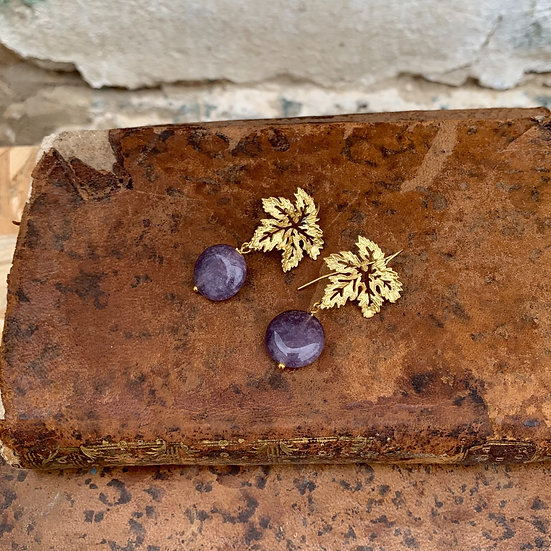brincos parra pedra lilás