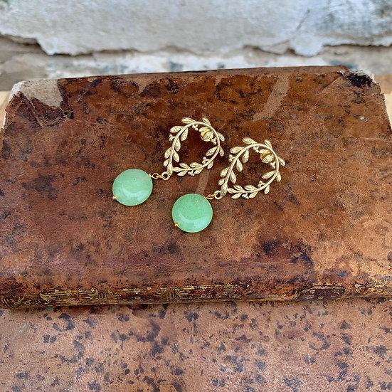 brincos coroa de césar -pedra verde claro