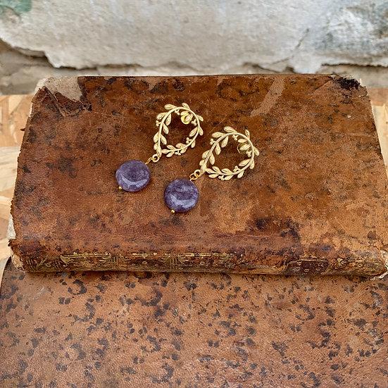 brincos coroa de césar -pedra lilás