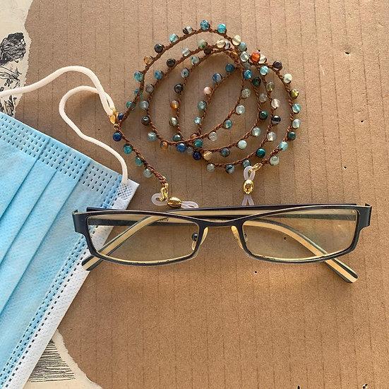 fios de óculos handmade -ágatas multicor -com fecho suporte de máscara