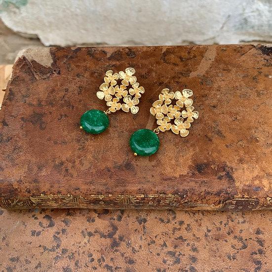 brincos flor grande pedra verde escura
