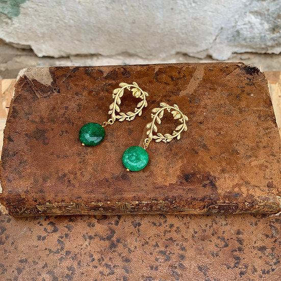 brincos coroa de césar -pedra verde escura