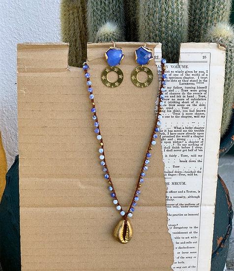 colar BUZIO/BRONZE ajustavel ágatas  mescladas azul ingles&branco