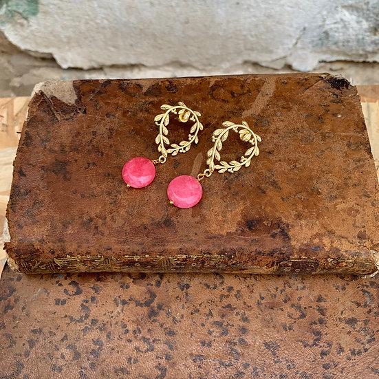 brincos coroa de césar -pedra rosa