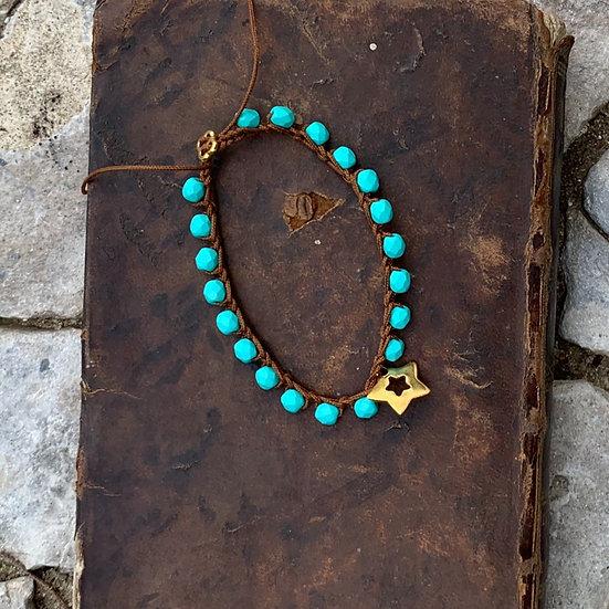 Pulseiras ajustáveis handmade azul turquesa estrelinha de aço